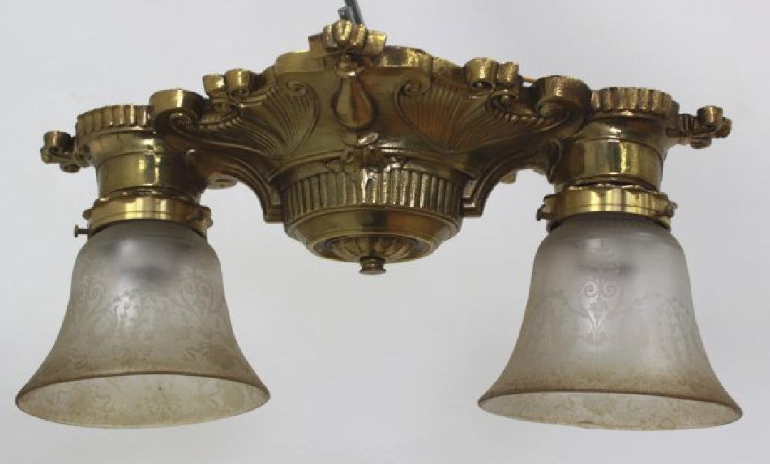 3 Art Deco Style Brass Ceiling Fixtures - 5