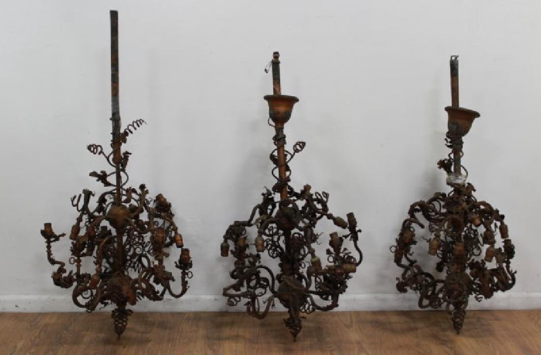 3 Victorian Copper Patinated 12-Light Chandeliers