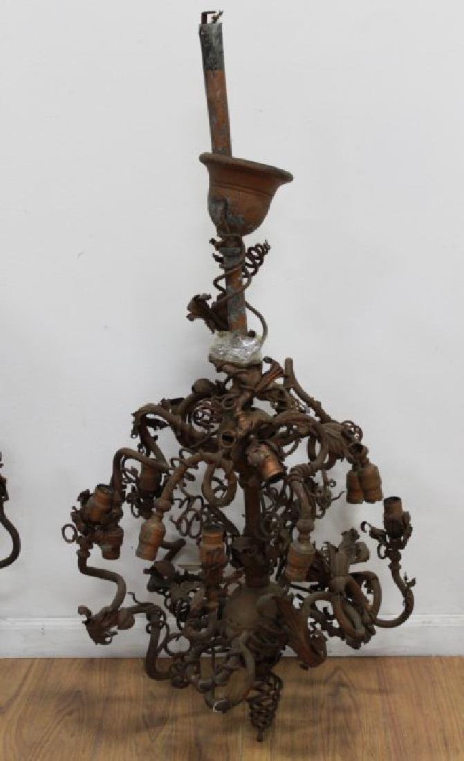 3 Victorian Copper Patinated 12-Light Chandeliers - 2