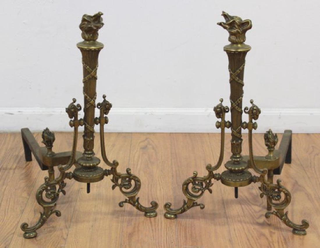 Pair Louis XVI Style Brass Chenets