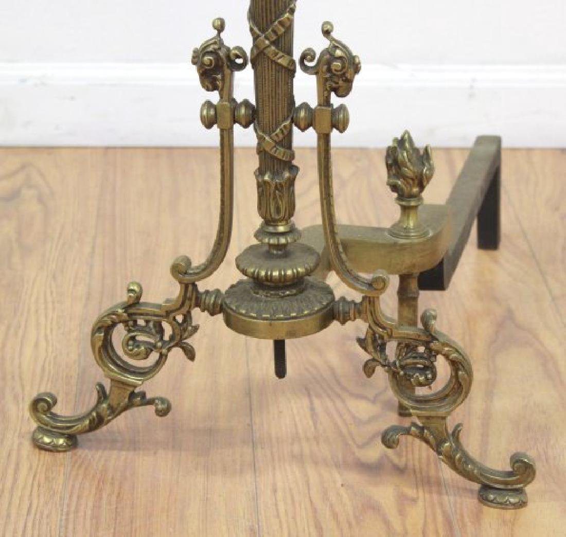 Pair Louis XVI Style Brass Chenets - 3