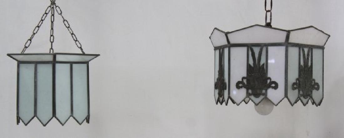 2 Art Deco Leaded Glass Lanterns