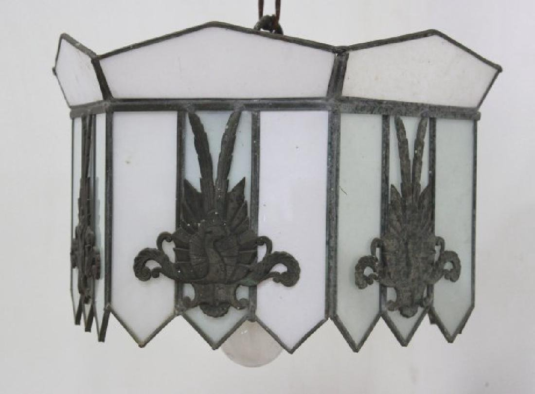 2 Art Deco Leaded Glass Lanterns - 2