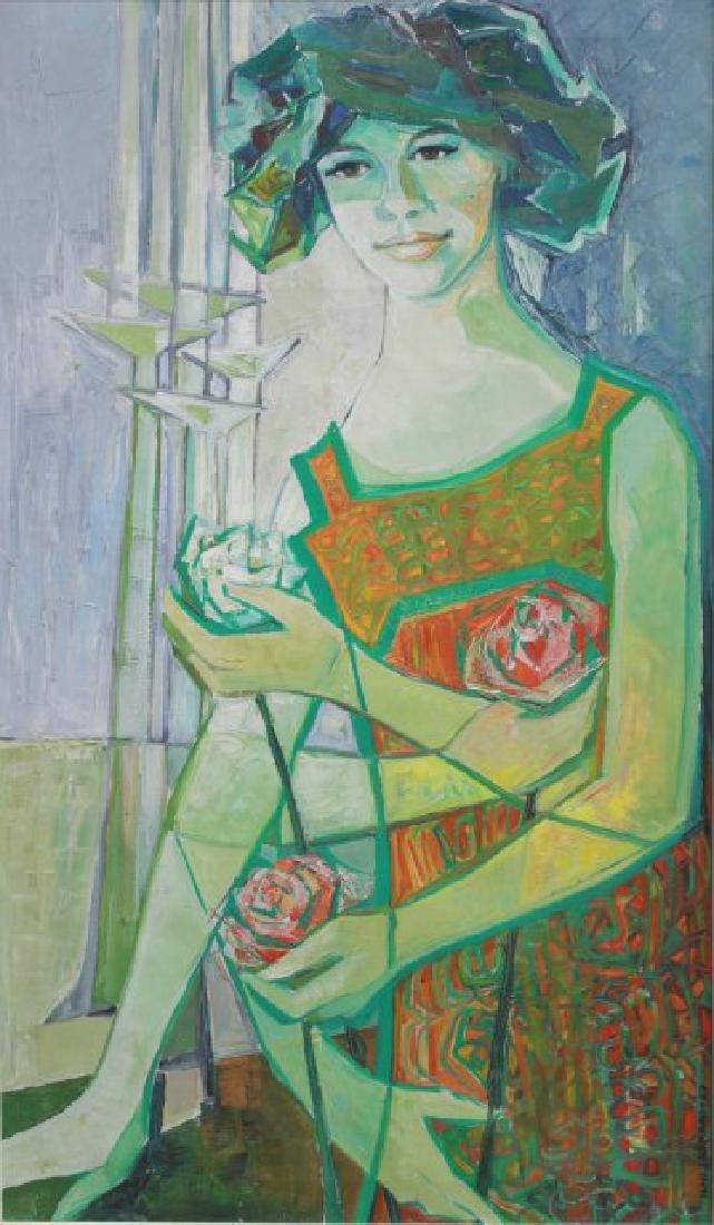 Ilmi Jaskari, Abstract Portrait of Lady w/ Flowers