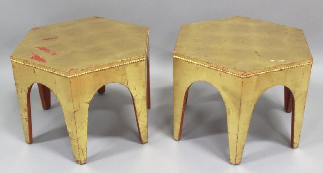 Pair Giltwood Hexagonal Side Tables