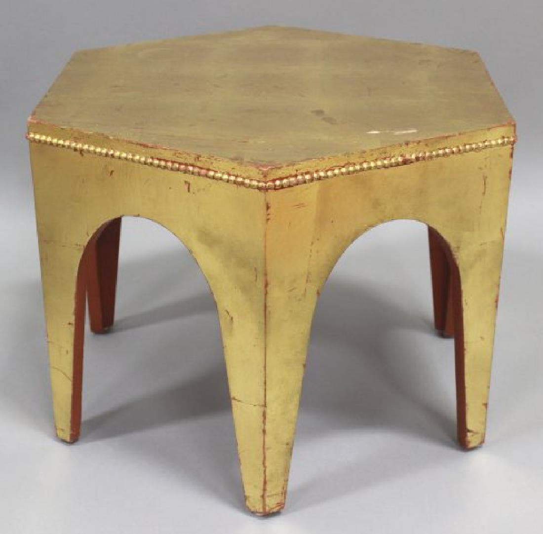 Pair Giltwood Hexagonal Side Tables - 2