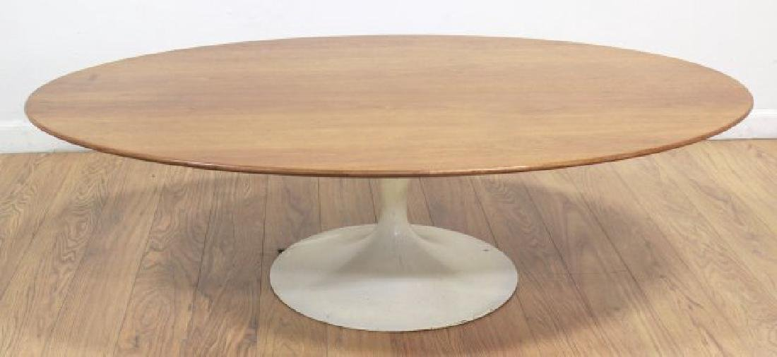 Eero Saarinen Walnut Lacquered Metal Coffee Table
