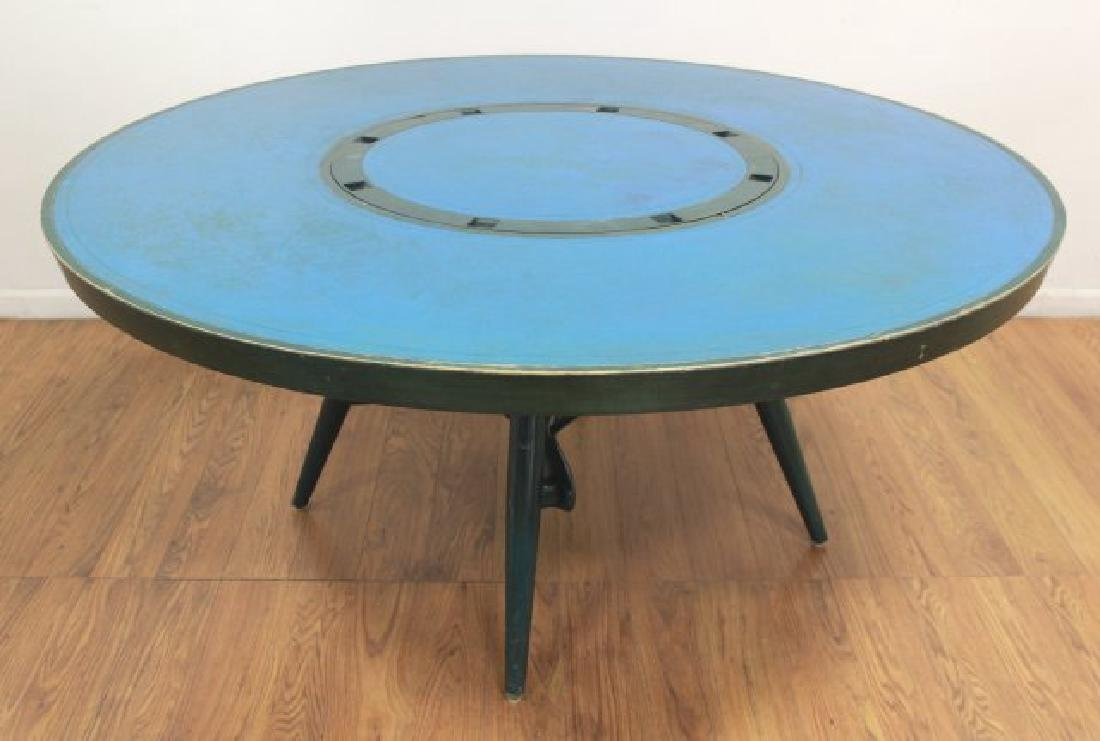 Mid-Century Modern Green Lacquered Gaming Table