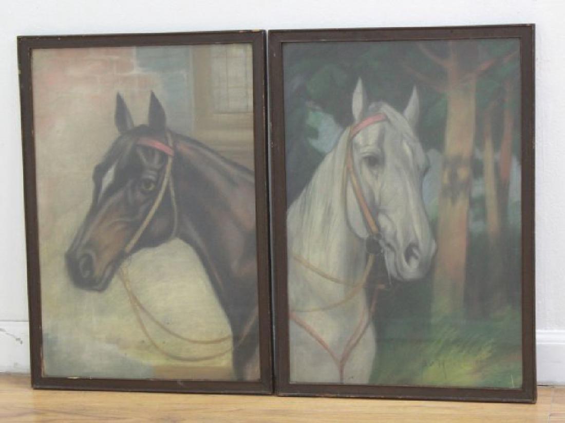 Pair Equestrian Pastels