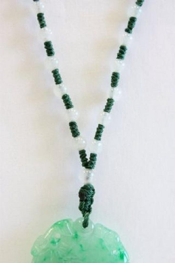 Natural Jade Pendant on Beaded Chain - 3