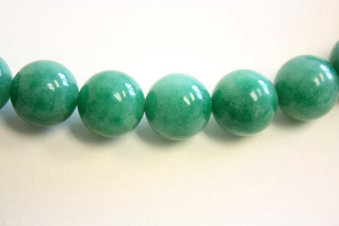 Long Green Jade Beaded Necklace - 3