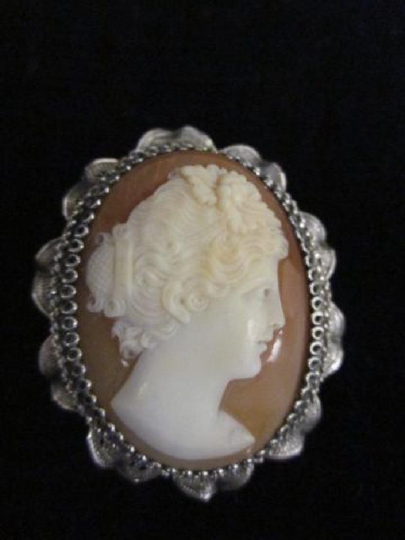 Pair Tiffany Cufflinks & Silver Frame Cameo Pin - 2