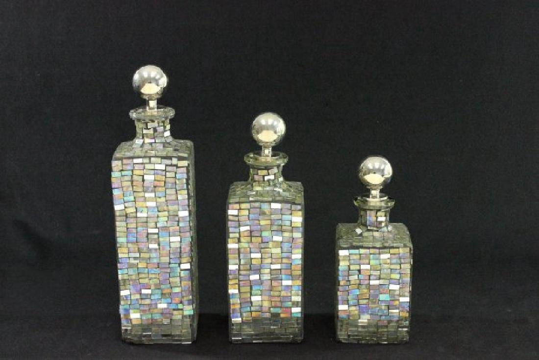 Set of 3 Modernism Glass Decanters