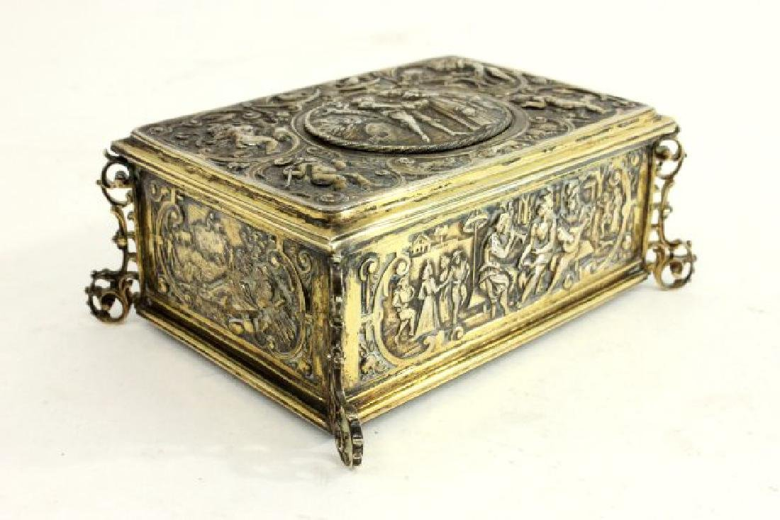 Late 19th-Early 20th C. German 800 Silver Bird Box