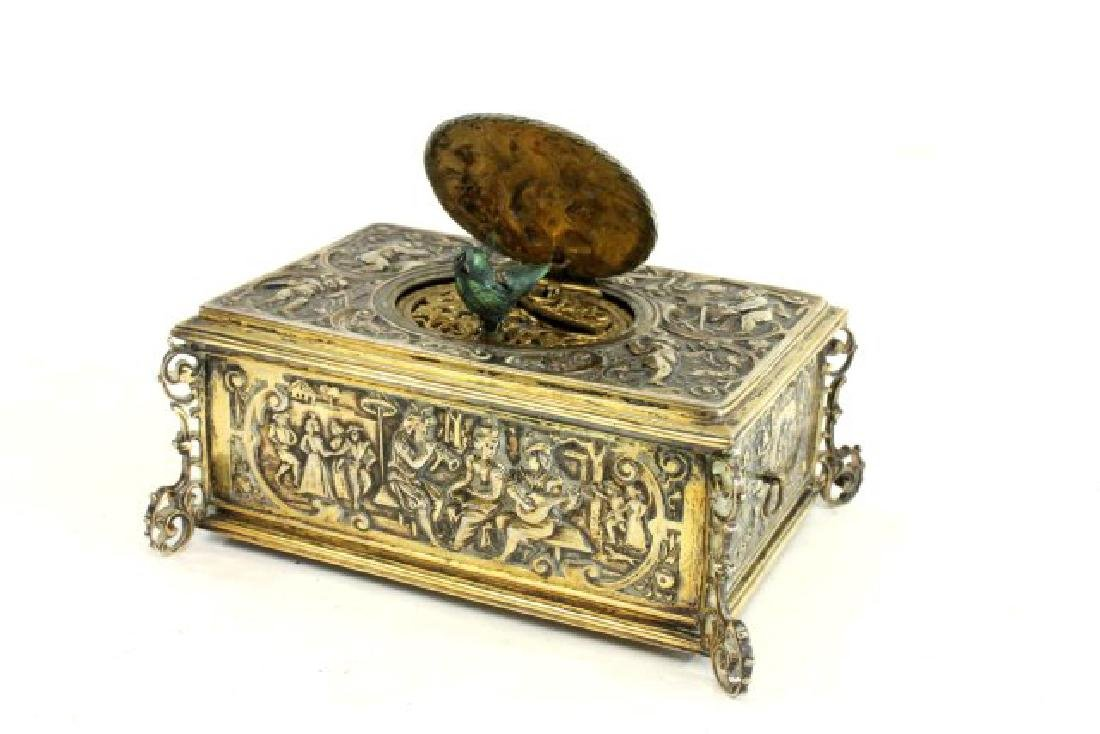 Late 19th-Early 20th C. German 800 Silver Bird Box - 3