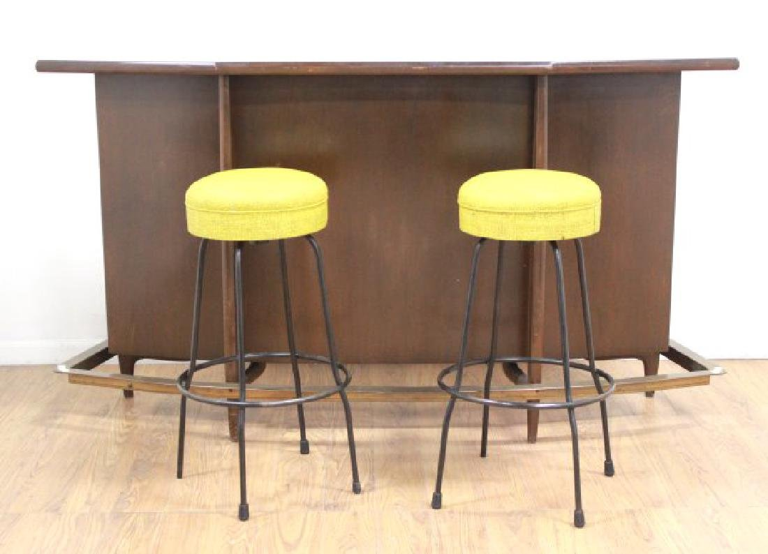 Modern Walnut Stained Bar with 2 Stools