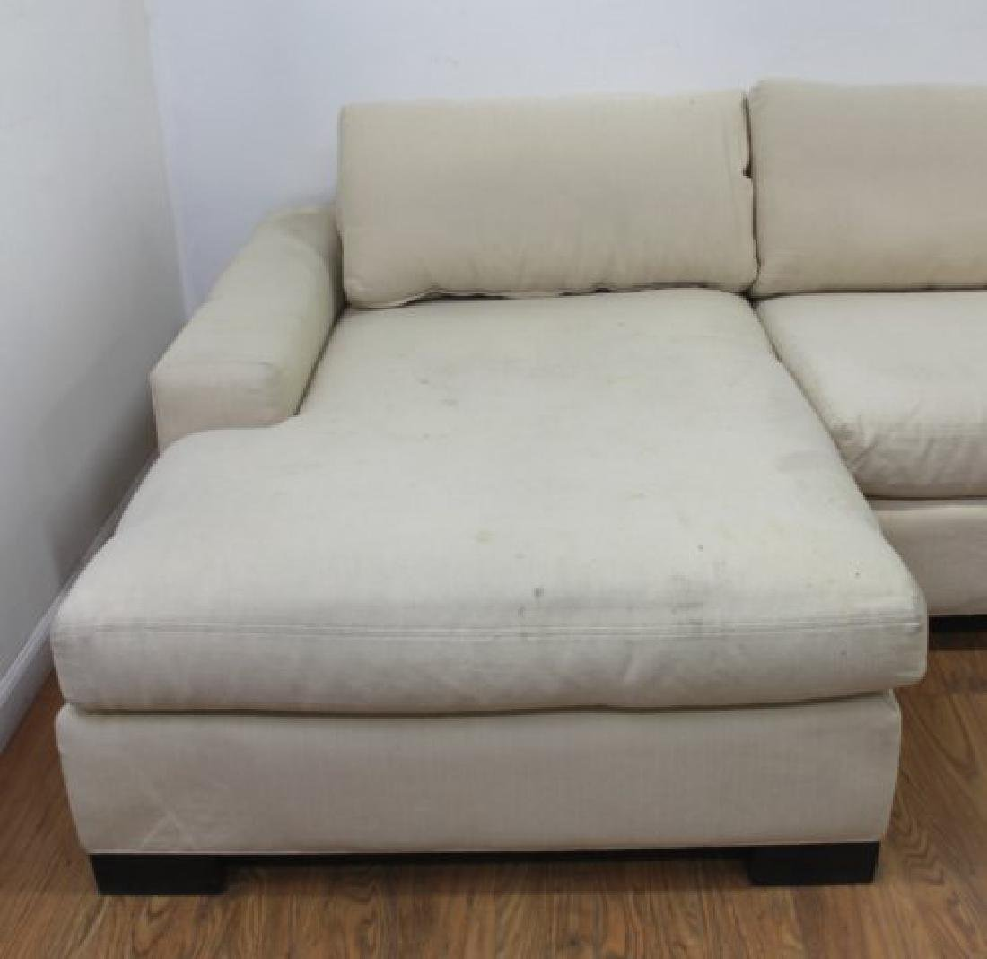 Pair Contemporary Beige Woven Cotton Recamiers - 2