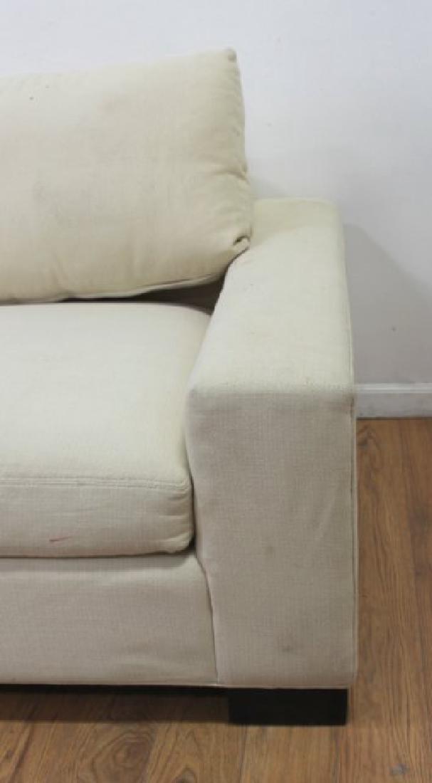 Pair Contemporary Beige Woven Cotton Recamiers - 3