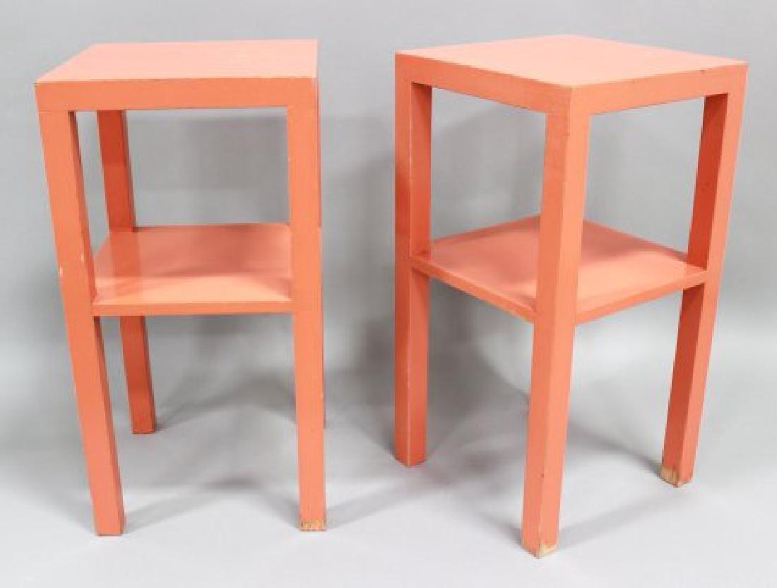 Pair 70s Orange Lacquer 2-Tier Stands