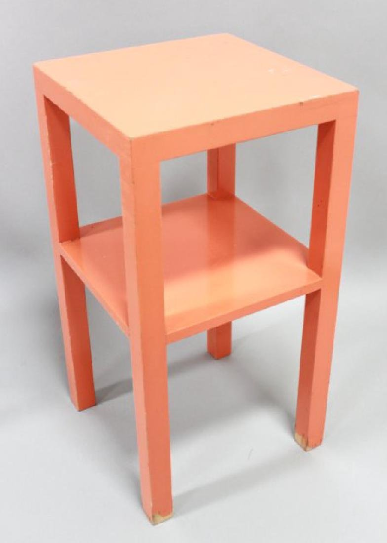 Pair 70s Orange Lacquer 2-Tier Stands - 2