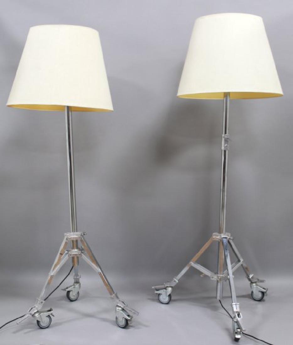 Pair Industrial Polished Metal Floor Lamps