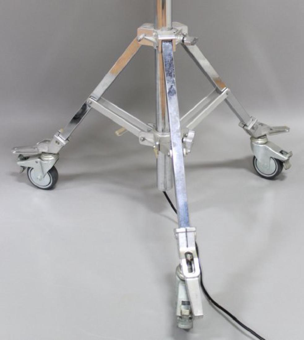 Pair Industrial Polished Metal Floor Lamps - 3