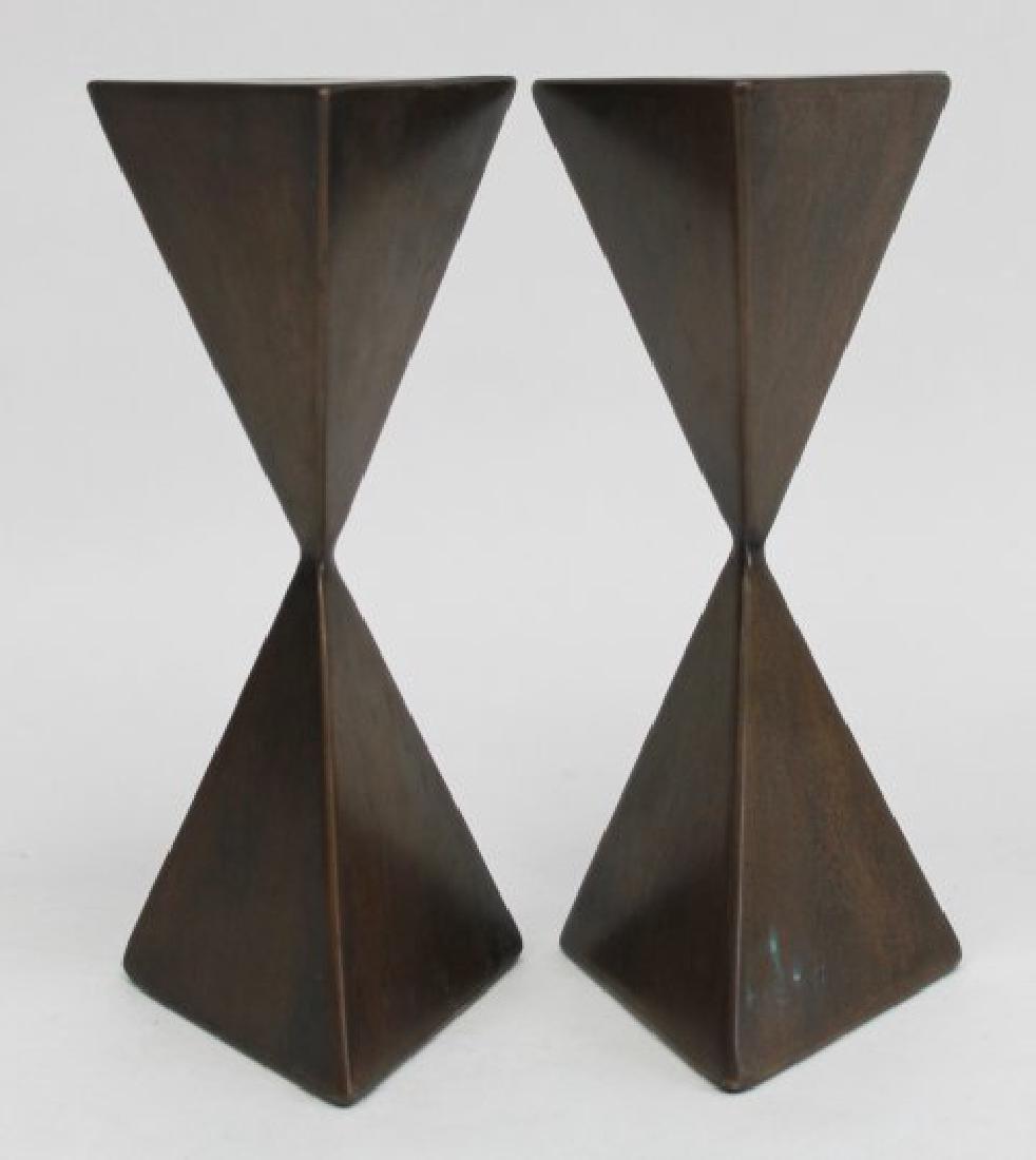 Pair Vladimir Kagan Miniature Bronze Pedestals