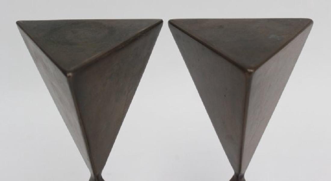 Pair Vladimir Kagan Miniature Bronze Pedestals - 4