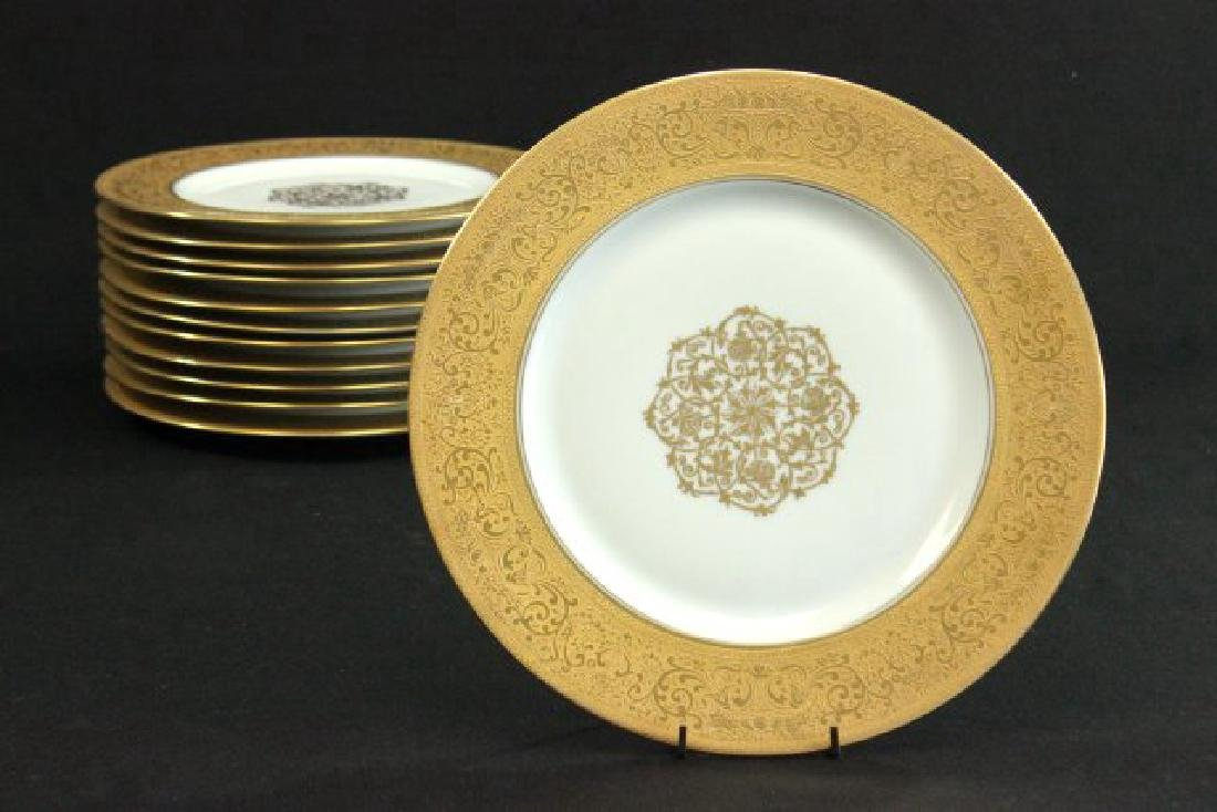 12 Heinrich & Co. Gold Encrusted Service Plates