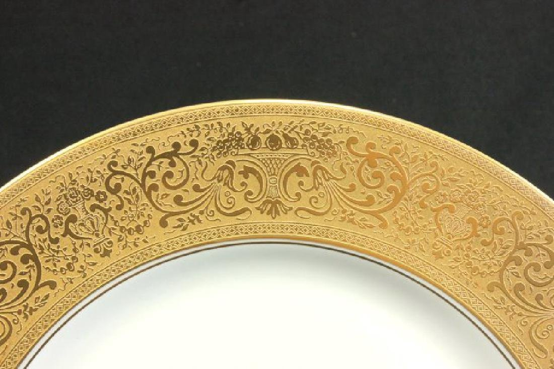 12 Heinrich & Co. Gold Encrusted Service Plates - 3