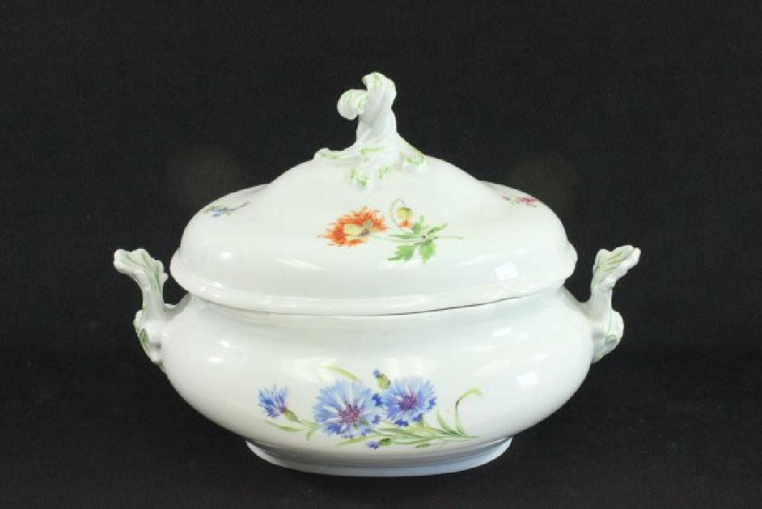 Floral Handpainted Meissen Covered Tureen