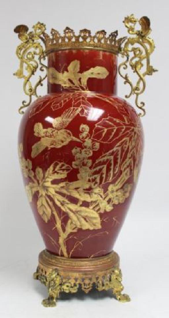 :Bronze & Enameled Handpainted Porcelain Urn