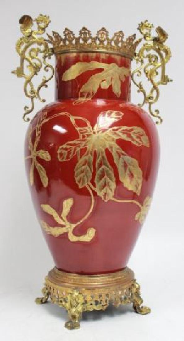 :Bronze & Enameled Handpainted Porcelain Urn - 2