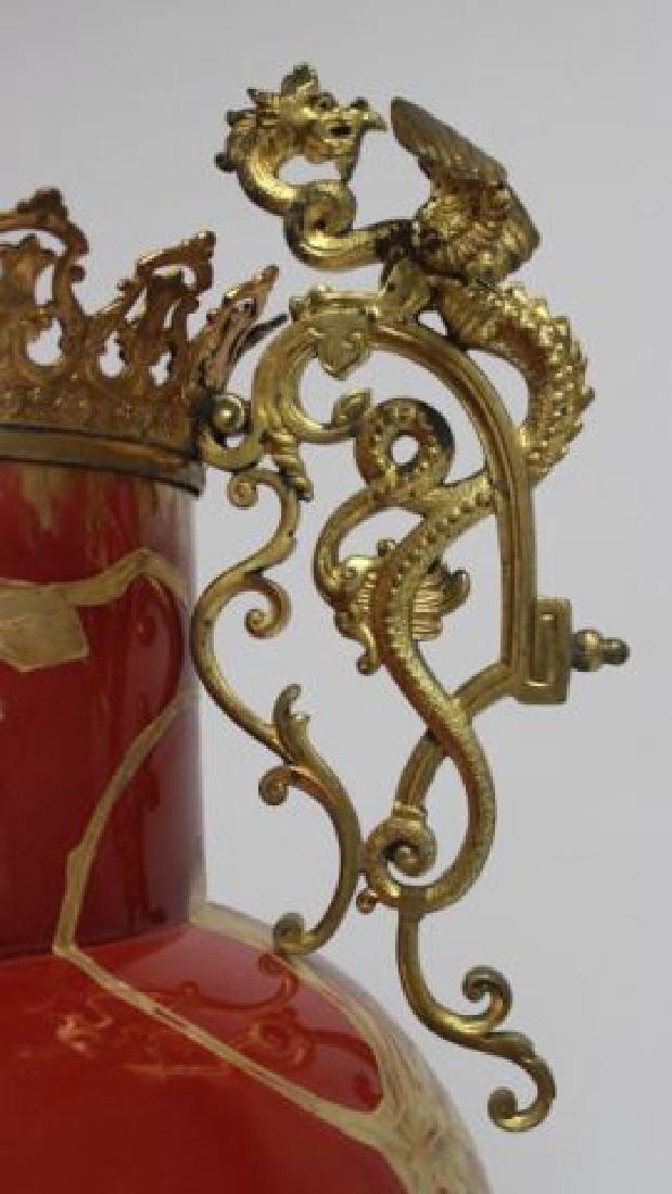 :Bronze & Enameled Handpainted Porcelain Urn - 4