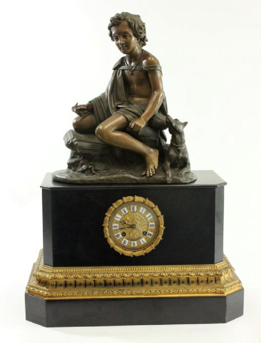 Clock with Bronze Figure on Black Marble Base
