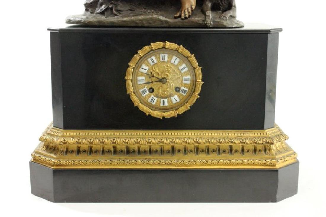 Clock with Bronze Figure on Black Marble Base - 2