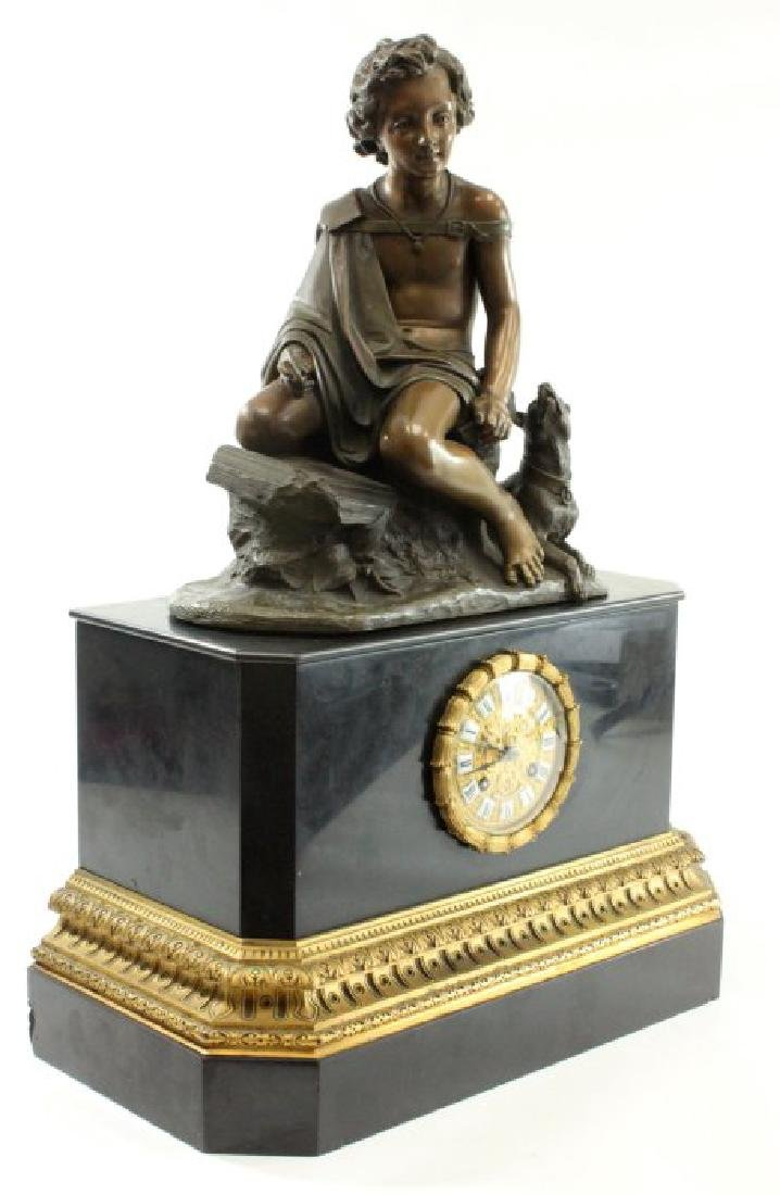 Clock with Bronze Figure on Black Marble Base - 5