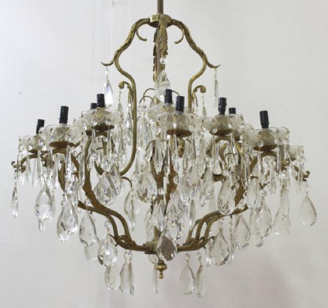 Bronze & Crystal 16-Light Chandelier