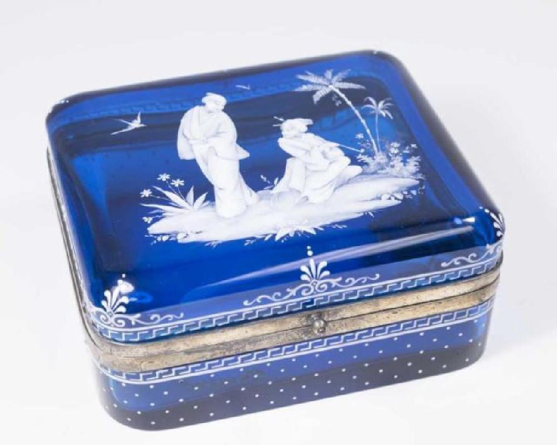 :Cobalt Blue Glass Box with Enamel Decoration