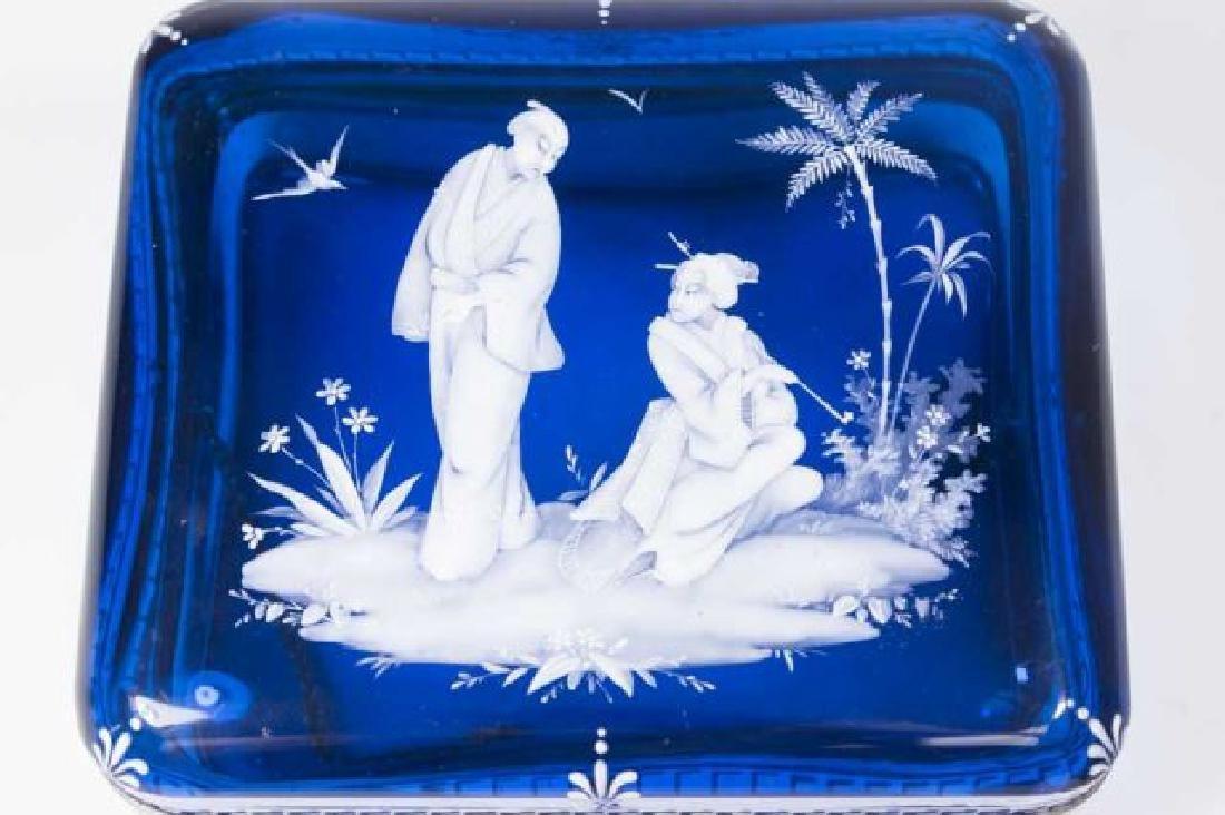 :Cobalt Blue Glass Box with Enamel Decoration - 2