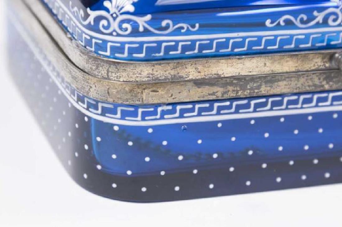 :Cobalt Blue Glass Box with Enamel Decoration - 3