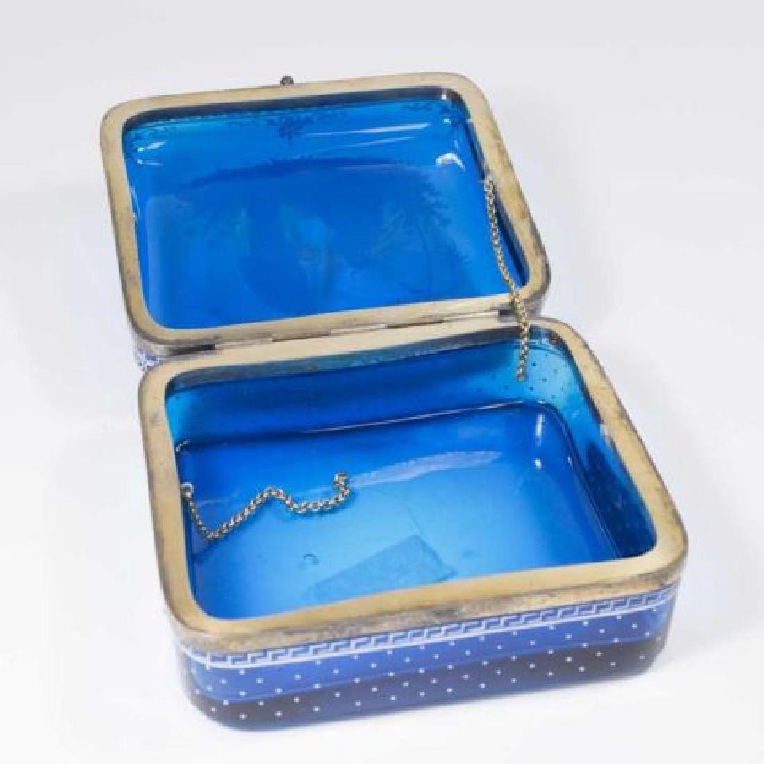 :Cobalt Blue Glass Box with Enamel Decoration - 4