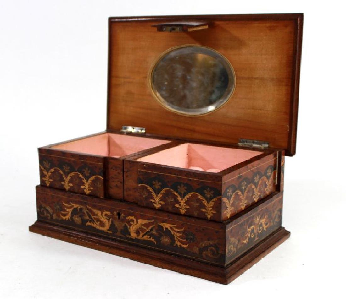 European Inlaid Wood Jewelry Casket - 2