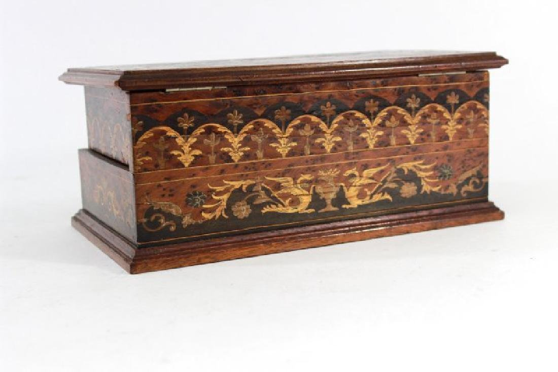 European Inlaid Wood Jewelry Casket - 4