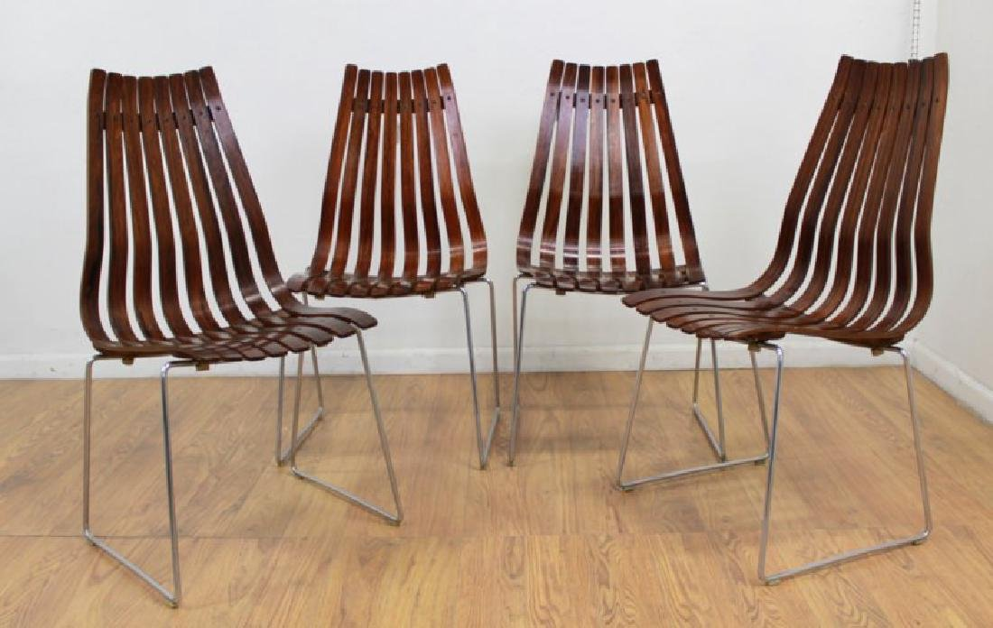 Set 4 Hans Brattrud Rosewood & Chrome Side Chairs
