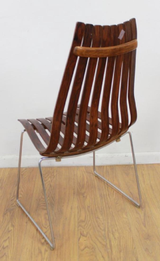 Set 4 Hans Brattrud Rosewood & Chrome Side Chairs - 3