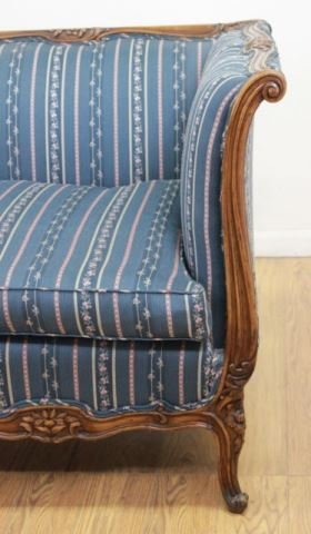 :Carved Walnut Couch - 5