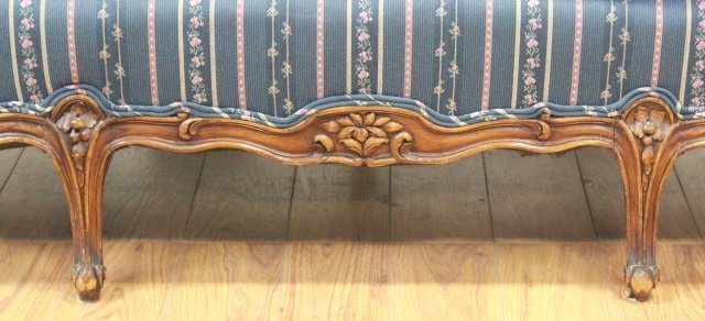 :Carved Walnut Couch - 6