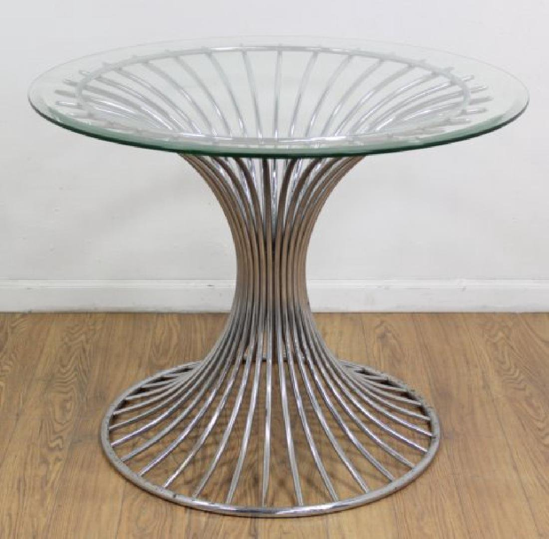 :Round Chrome Base Beveled Glass Top Table