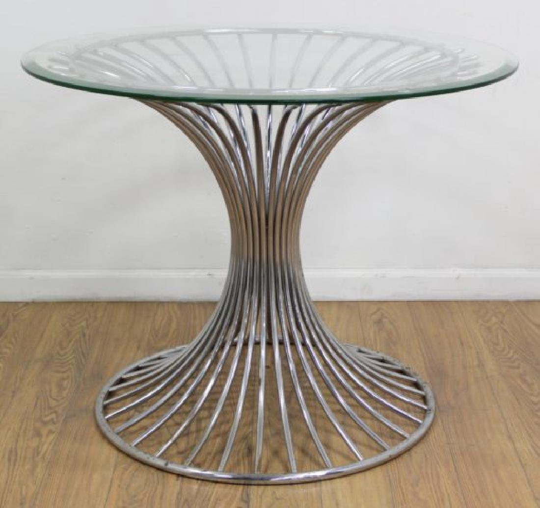:Round Chrome Base Beveled Glass Top Table - 2